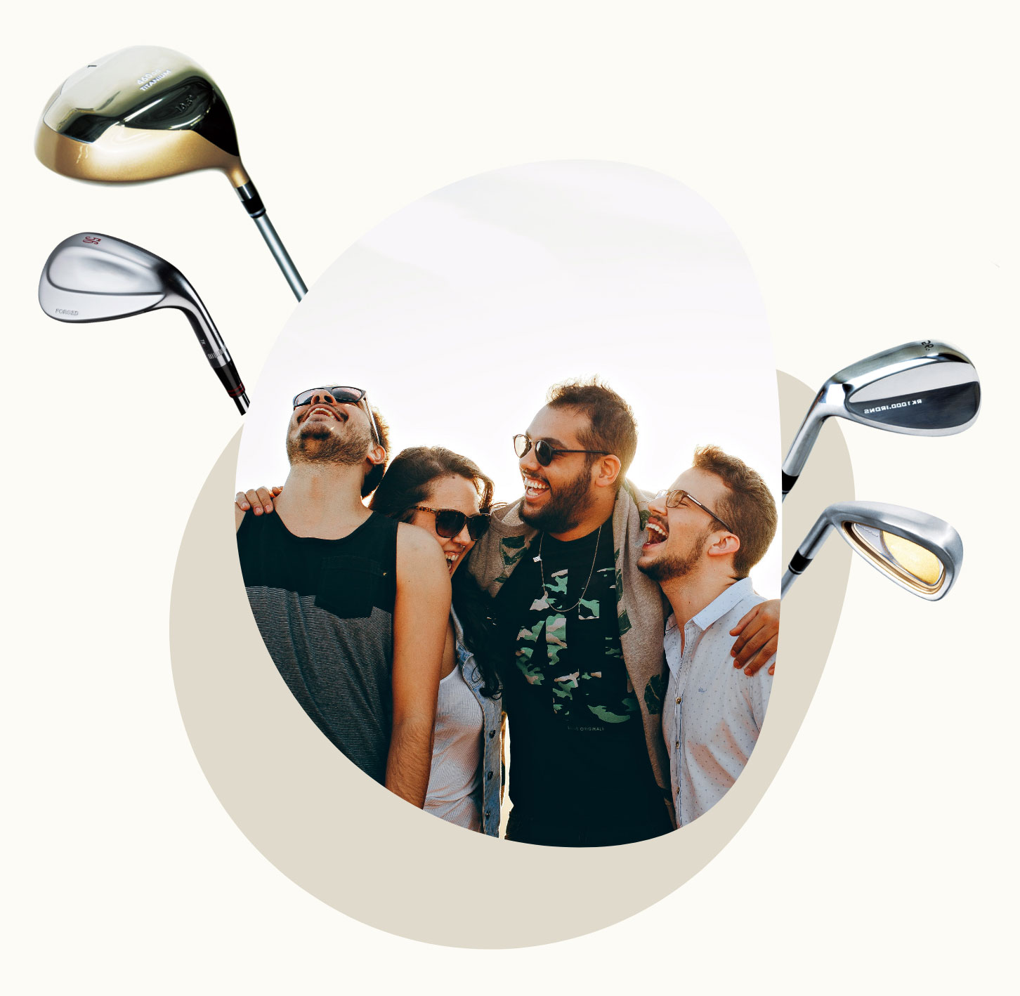 Happy friends laughing and golf clubs